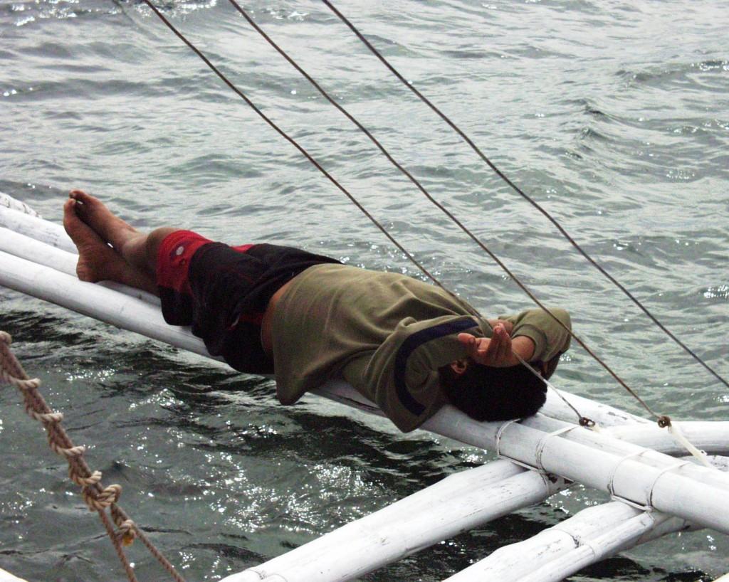 Napping Boatman - off of Mactan Island