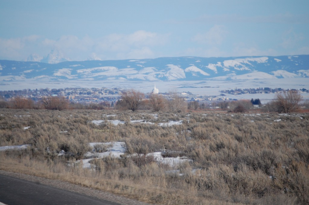 East to Rexburg - notice big white temple n the middle of town