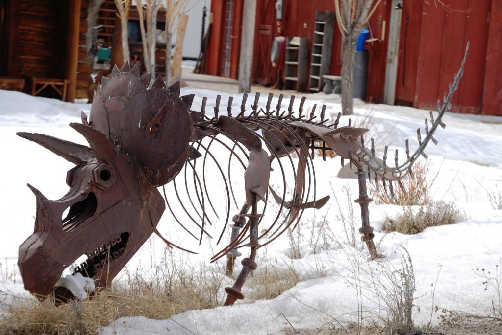 Metal dinosaur in Kelly, WY