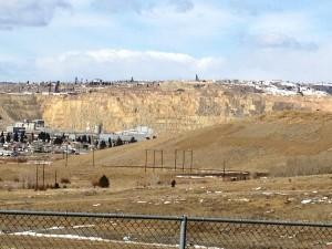 Berkeley Pit as seen from Downtown Butte