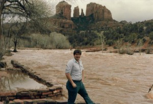 David at Oak Creek when the creek was flooding