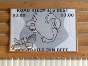 Road Kill sign...their jerky