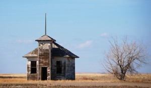 Front view of old schoolhouse in Fresno, MT