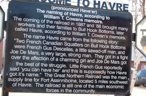 Welcome to Havre sign at Amtrak Station