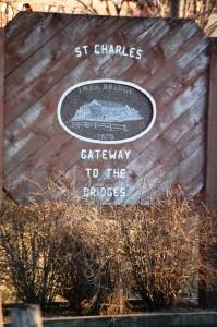 St. Charles, Iowa welcome sign near Imes Covered Bridge