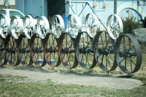 Wheel Fence at Bonnie's house in What Cheer
