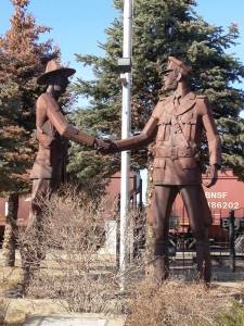 Hands Across the Border Statue by Lyndon Pomeroy