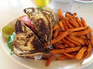 TJ's Cafe Lunch - a Reuben Sandwich and Sweet Potato Fries