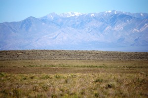 Sagebrush and mountains near Atomic City
