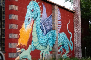 Large wall mural on Chelsea's Chinese restaurant in Oak Creek, CO