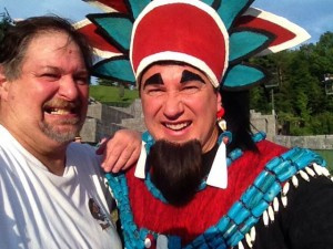 Sumoflam poses with the actor who portray's the wicked King Noah from the Book of Mormon