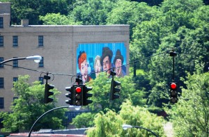 Large Lucy Mural as seen from downtown Jamestown, NY
