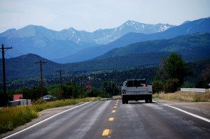 Heading south on US 24 towards the Sangre de Cristo range