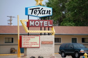 Texan Motel neon in Raton, New Mexico