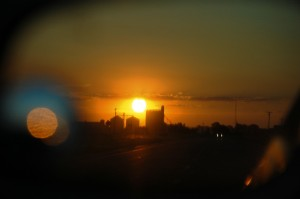 Sunset near Quanah, Texas (as seen through my side view mirror)