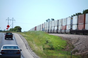 Long Train Running along US 60 near Norwood, Missouri