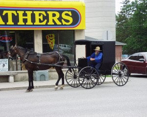 Amish folk shopping in Oxford County, Ontario