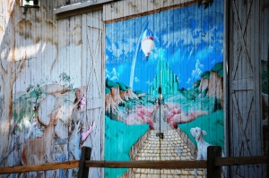 Emerald City Mural on barn at Curtis Orchards