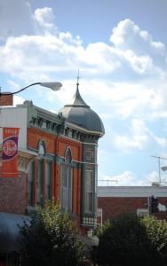 Unique corner turret on building in Pella