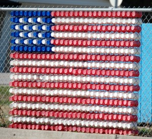 At the gas station in Adair there was a flag made from plastic cups inserted into a nearby fence.