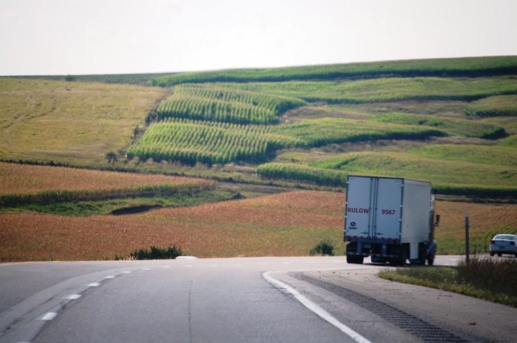 Interstate 80 runs through the beautiful rolling hills of northwestern Iowa.