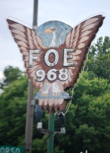 Old Neon Sign for Fraternity of Eagles in Nebraska City