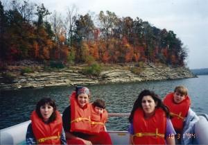 Kids on Pontoon Boat on Bear River Lake in Southern Kentucky on Halloween 1994