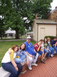 The family at Carthage, location where the LDS Prophet Joseph Smith was martyred. Taken in the summer of 2001.