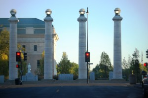 Lit Pillars at Courthouse in Columbia, MO
