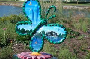 Colorful Butterfly statue in front of the Butterfly House