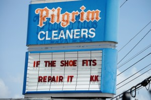 Pilgrim Cleaners in Houston, Texas.  They also do shoe repairs