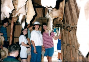 Barbara, Marissa and Chelsea in a hut in historic Jamestown, VA - August 1995