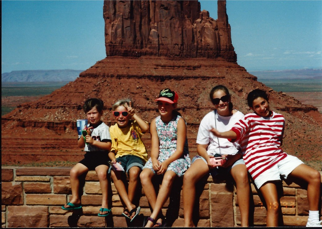 The kids in front of Mitten Butte in Monument Valley Navajo Tribal Park in July 1993