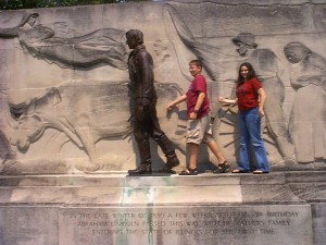 Seth and Marissa walking with Lincoln at Lincoln Museum in Springfield, Illinois in the Summer of 2001