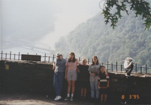 The kids at New River Gorge overlook