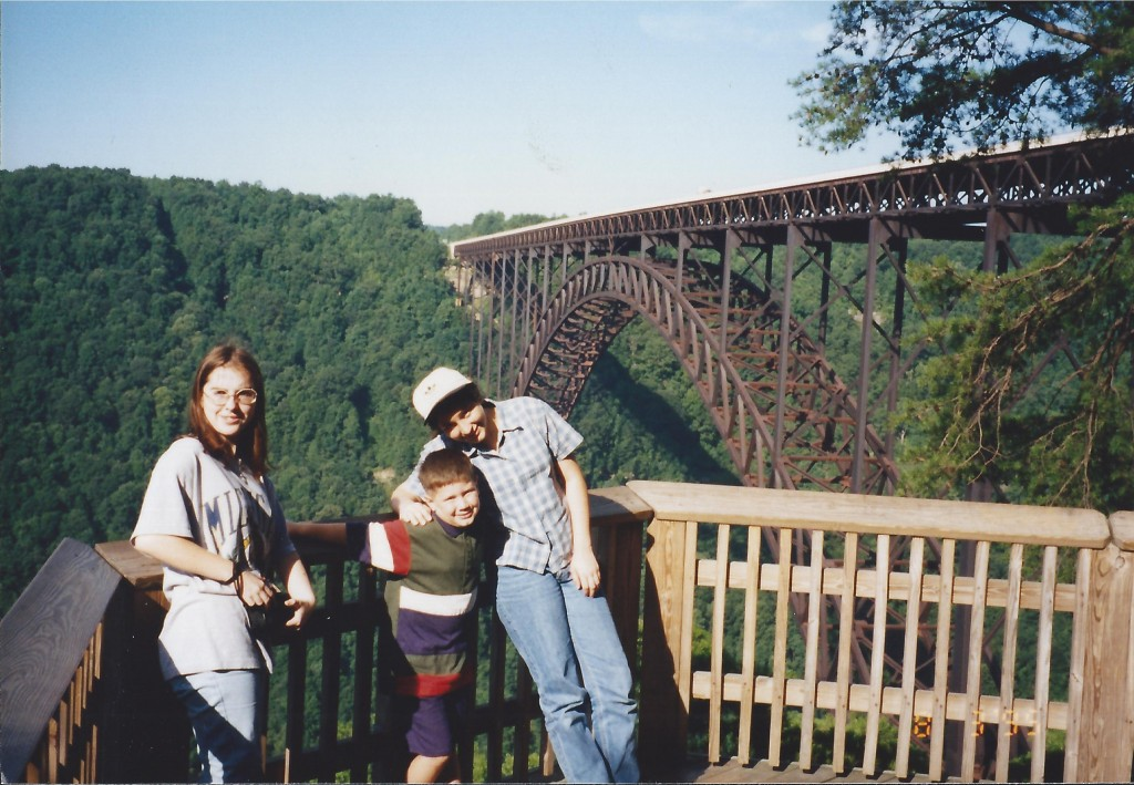 Some of the kids viewing the massive New River Gorge Bridge in August 1995