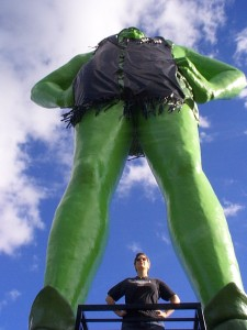 Amaree with the Jolly Green Giant in Blue Earth, Minnesota, summer 2004