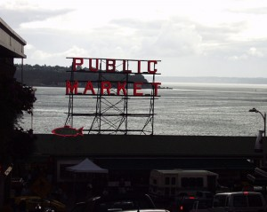 The famous Public Market sign in Seattle, Washington