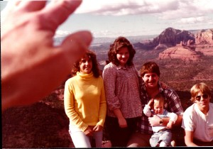 Our family at Schnebley Hill overlooking the Red Rocks of Sedona in 1980.