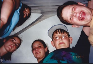Marissa, Barbara, Amaree, Seth, Solomon under the Gateway Arch in St. Louis, Sept. 1997