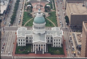 View of Capital Building from top of St. Louis Arch, taken Sept. 1997