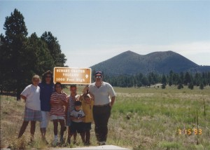 Family at Sunset Crater National Monument north of Flagstaff in July 1993