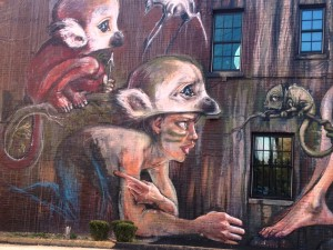Closeup of the Little Monkeys by HERAKUT in Downtown Lexington