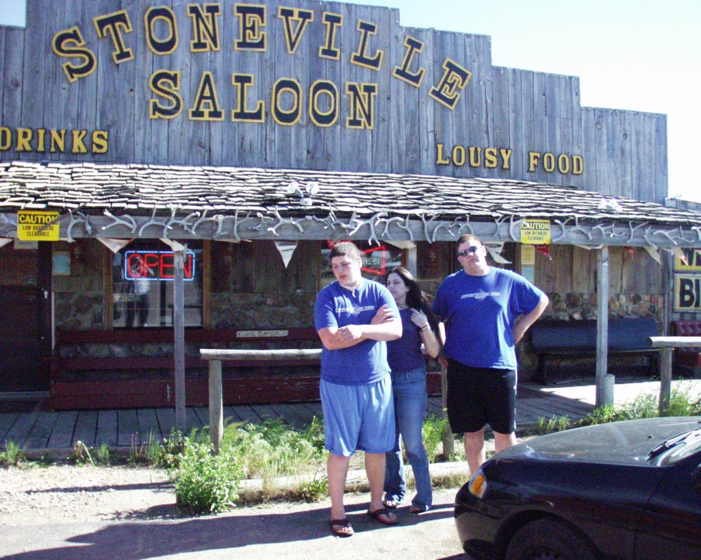 Solomon, Marissa and Seth at the Stoneville Saloon in Alzada, Montana.  A biker bar literally in the middle of nowhere. June 2005