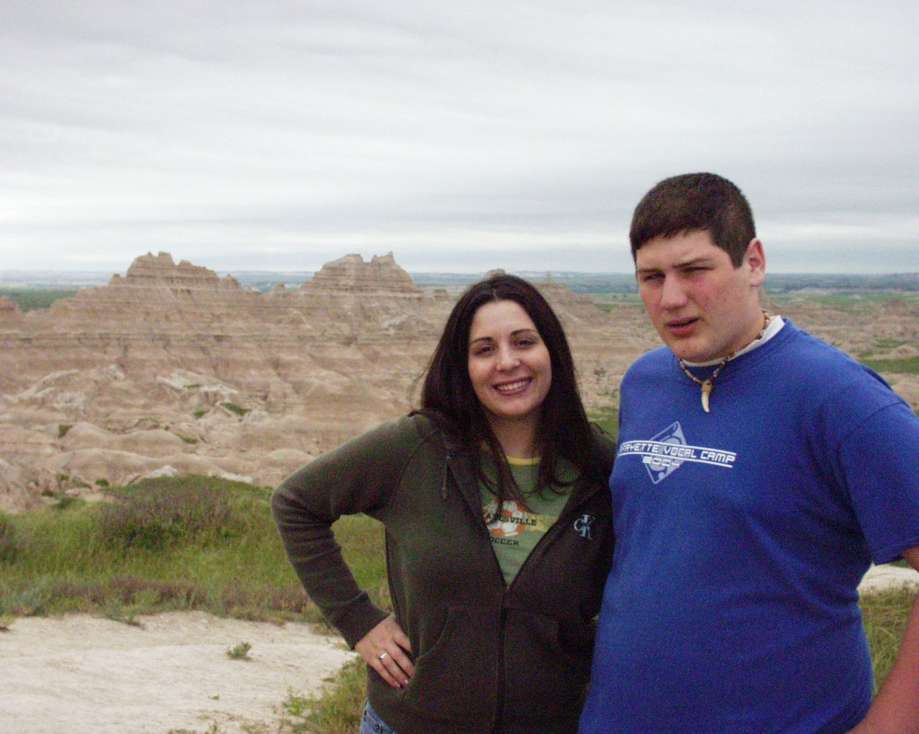 Marissa and Solomon enjoy Badlands National Park in South Dakota - June 2005