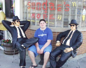 "The ""Soulman"" withe the Blues Brothers outside a shop in Mitchell, SD - June 2005"