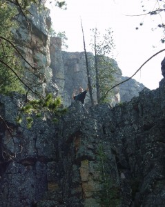 Solomon up high on a cliff near Memorial Falls in Montana, Sept 2007