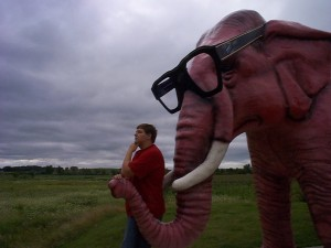 Seth ponders what life would be like as a Pink Elephant in DeForest, WI summer 2004