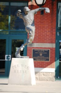Pee Wee Reese statue at Louisville Slugger field in Louisville