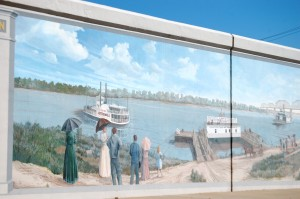 A River Scene mural in Jeffersonville by Robert Dafford